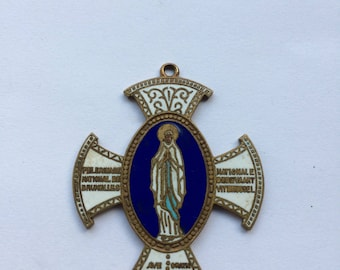 Antique large enamel religious Maria Mary cross medal