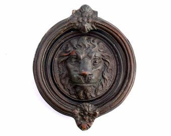 Antique Lion Door Knocker, Round Bronze