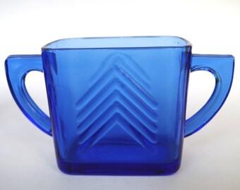 Beautiful Hazel Atlas Cobalt Blue Depression Glass Chevron Pattern Sugar Bowl Double Handles - Two Available