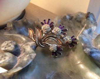 Trifari brooch flowers purple stones