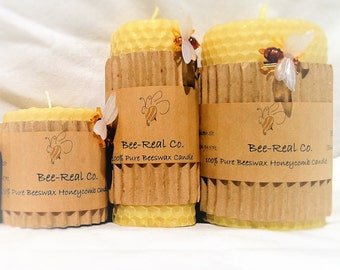 "4"" x 3"" 100% Pure Beeswax Hand Rolled Honeycomb Candle"