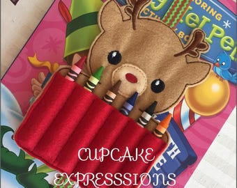 Homemade Coloring Book Crayon Holder - Reindeer - Quiet Time Play Toy - Christmas Holiday Present Santa Clause