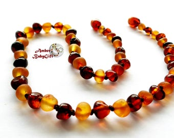 Genuine Raw / Polished Baltic Amber Necklace - Cherry and Cognac Amber Beads - Screw clasp - Choose Your Length, K