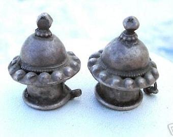 Antique Belly Dance Tribal Old Silver Earplug Earring