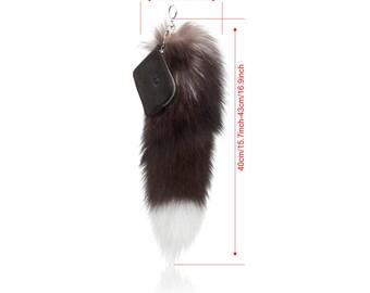 large Faux fox tail keychain - black and white fox fur tail keychain VALENTINES SALE - handbag keychain - fox tail key holder- cool keychain
