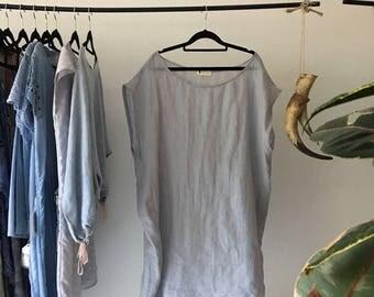 Women's Flax Linen Blue Alfresco Shirt Dress.Free size.