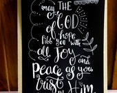 Hope, Joy and Peace | Bible verse | Romans 15:13 | Print | Hand lettering | Home Decor | Scripture | Wall Art