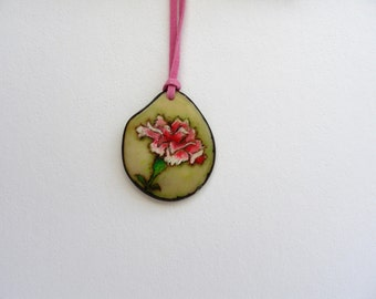 Vegetable Ivory - Tagua Nut - Pyrography - Necklace - Birth Flower - Carnation - January