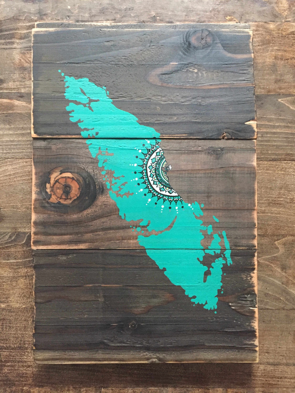 Island Mandala Sun in Turquoise Reclaimed wood home decor rustic
