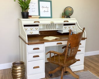 Vintage Roll Top Desk - Solid Wood Desk - Country Cottage Furniture - Distressed Desk - Home Desk - White Wood Desk - Large Desk