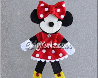 RED Minnie Mouse Hair Clip, Minnie Hair Bow, Minnie Hair Clip, Ribbon Sculpture, Disney Hair Clip, Minnie Bow