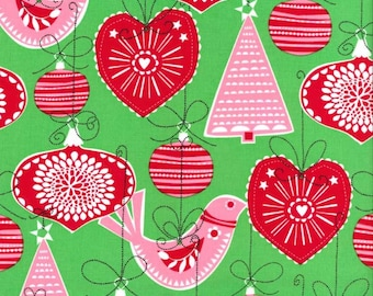 Christmas Fabric/Green, with Red and Pink Scandinavian Design Ornaments/Michael Miller/Cotton/Fat Quarter, Half, By The Yard, Yardage