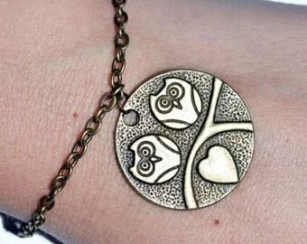 Love owl charm bronze casual bracelet