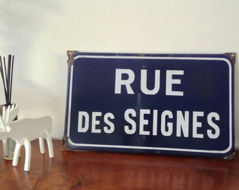 Vintage French street name wall decor