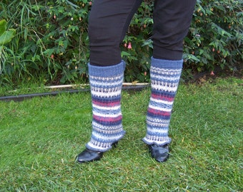 Eco Upcycled Leg Warmers, Recycled Sweater, Sweater Leg Warmers, Boho Leg Warmers, Fair Isle Leg Warmers, Hippie Leg Warmers, Acrylic Wool