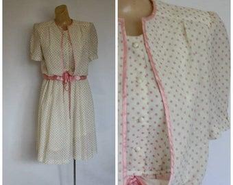 Sale Vintage 1980's Easter Dress / Vtg Modest Easter Dress / Vintage Modest Dress / Secretaries Dress / Pink Polka Dot Dress