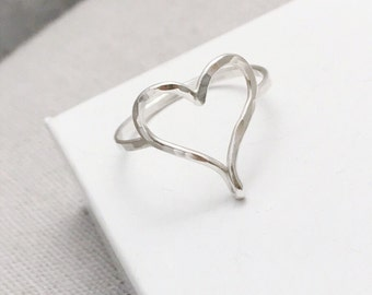 Sterling Silver Heart Ring | Hammered Open Heart Ring | Contemporary Ring | Silver Jewellery UK