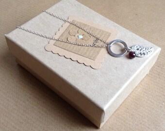 Charm Necklace, sterling silver necklace, leaf necklace, Silver leaf Necklace