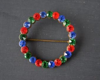 Vintage Rhinestone Circle Brooch | Red Blue Green Rhinestones | Brass and Rhinestone Brooch | Vintage Costume Jewelry