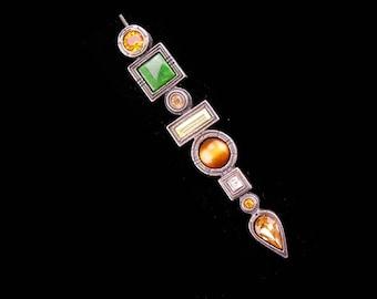 Vintage Brooch / Scottish Dirk Kilt pin / Patricia locke / citrine lapel pin / tiger eye signed brooch /  / Wedding Scotland