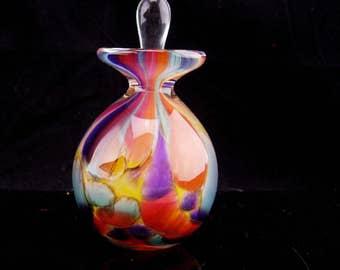Vintage Murano Perfume Bottle / mottled color glass / perfume dauber / vanity accessory / red orange purple glass