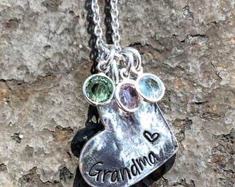 Hand Stamped - Name Jewelry - Birthstone Jewelry - Gifts for Mom