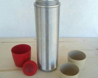 1950's Vintage Thermos Vaccum Bottle With Cups - Polly Red Top - Aluminum