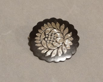 Vintage SIAM Sterling Silver Pin Black Enamel Lotus Flower Antique Asian Jewelry 8.0 grams