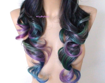 Oil Slick hair wig. Ombre wig. One of Kind wig. Custom wig. Durable Heat friendly wig for daily use or Cosplay.