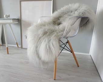 Genuine Rare Icelandic Sheepskin Rug - Soft Silky Long Wool - Dyed Silver | Grey | Ash | Tan Mix
