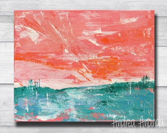 Original Abstract Landscape Acrylic Painting Impressionist Wall Art Surreal 10 x 8 inches Small Canvas pink handmade