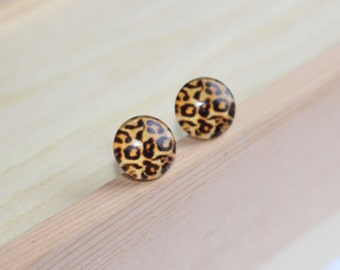 Animal, Cheetah, Leopard Print, Glass Cabochon, Titanium Post, Hypoallergenic Stud Earrings