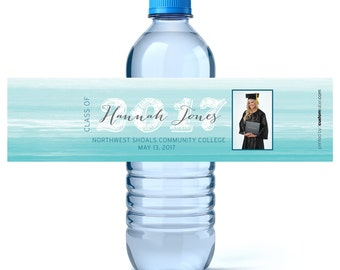 Graduation Labels - Personalized Graduation Water Bottle Wrappers - High School Graduation - Graduation Decor - Class of 2018 - College Grad