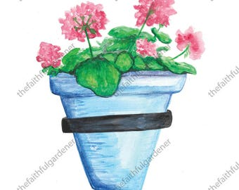Blue Pot with Long Pink Flowers Watercolor Original Painting