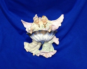Vintage, Wall Hanging, Catholic, Bisque porcelain angels, Holy water font, Stoop, Collectibles,  FREE SHIPPING