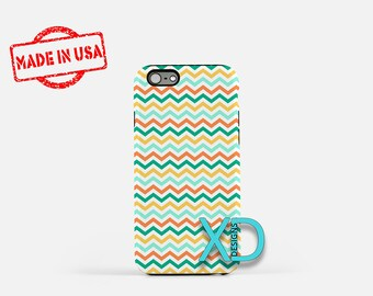 Teal Chevron Phone Case, Teal Chevron iPhone Case, Blue Wave iPhone 7 Case, Orange, Blue Wave iPhone 8 Case, Chevron Tough Case, Clear Case