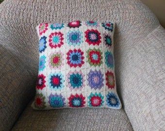 Crochet Pillow, Granny Square Cover Pillow, Decorative Pillow, Handmade Home Decor 18x18