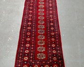 YEAR END CLEARANCE 1970s Hand-Knotted Bokara Rug Runner (3491)