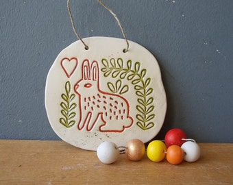 LOVE Bunny Ceramic Wall Decor / Vintage Hare / Folk art / Wall Art / Rustic picture