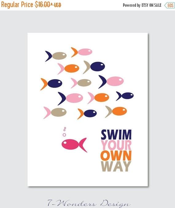 ON SALE Kids Bathroom Art Prints Swim Your Own By