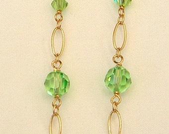 30% OFF CLEARANCE SALE Swarovski Peridot Crystal Beads 14k Gf Chandelier Earrings
