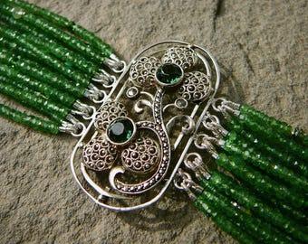 Theodor Fahrner Brooch Bracelet, Repurposed Fahrner Jewelry, Gemstone Bracelet, Multi Strand Tsavorite Garnet, Deco Bracelet