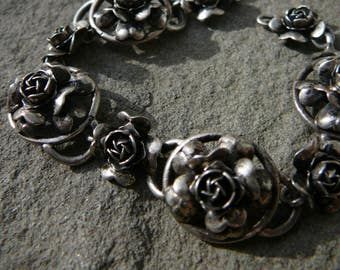 Vintage Peruzzi 800 Silver Rose Link Bracelet, Italian Renaissance Revival Bracelet, Vintage Silver Rose Bangle, Fratelli Peruzzi Jewelry