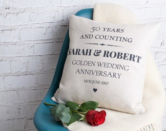 Personalised  Golden Wedding Anniversary Gift for Couples Her / Handmade Pillow Cushion Custom Made Cover / Present with Names and Date