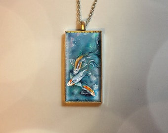 Koi Fish Pendant/Necklace Jewelry, Fine Art Necklace Jewelry, Quote Jewelry, inspirational jewelry