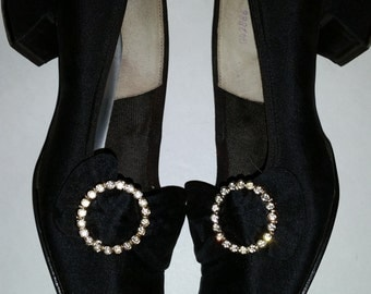 Vintage Shoes 1960's Mod Black Peau De Soie Pumps with Rhinestones Buckles 60's Chunky Heel Evening Shoes Size 7 and 1/2