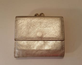 "Vintage Wallet 1970's Silver Leather Mini Tri-Fold Wallet Fancy Evening Wallet Made by Creations by Solar LTD in W. Germany 3 1/8"" x 2 3/4"""