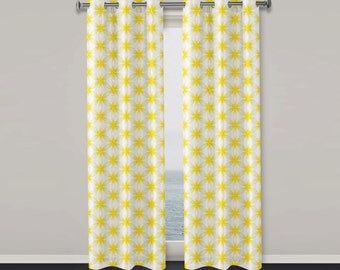 Yellow Window Curtains Seed of life pattern window curtain Sacred Geometry Window Curtain Modern Window Curtain Yellow Pattern Curtain