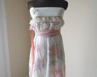 Garden Wedding Dress, Handmade Pink Flower Print Alternative Fairy Rustic Country Chic Gown, Barn Farm Bride