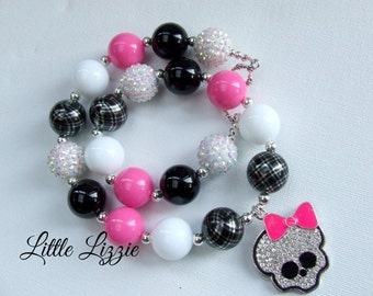 Girls Pink and Black bubblegum bead necklace